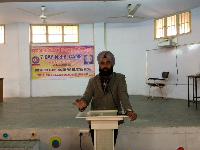 Dr. Sukhwinder Singh Cheema, P.O. delivering lecture
