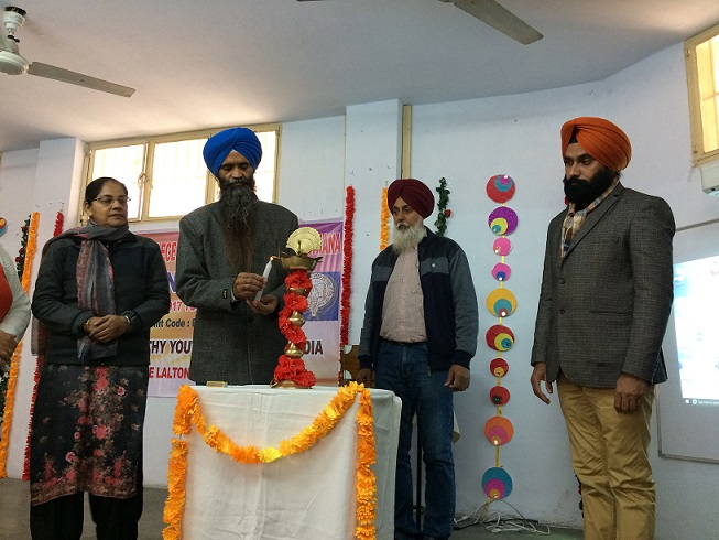 Dr. Charanjit Singh, Deputy DEO(SE), Ludhiana,  lightening the lamp during Inaugural function.