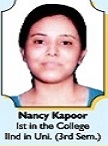 Nancy Kapoor of the college secured 2nd position in Panjab University by getting 1035 marks in 3rd semester