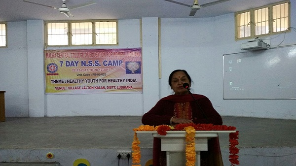 Dr. Rama Sofat, during Extension Lecture to NSS Volunteers