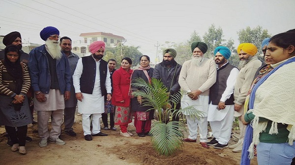 Dr.Manmeet Manav and Dr. Naginder Kaur, Principal,Tree Plantation in Village Lalton Kalan