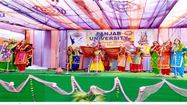 Malwa's Gidha Team performing during PU's Zonal Youth & Heritage Festival, 2016