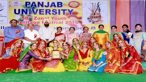Malwa's Gidha Team with trophy during PU's Zonal Youth & Heritage Festival, 2016